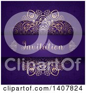 Clipart Of A Purple And Gold Ornate Invitation Design Royalty Free Vector Illustration