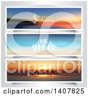 Blurred Summer Sunset Website Banners With Text