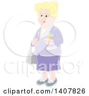 Clipart Of A Cartoon Happy Blond White Senior Woman Dressed In Purple Royalty Free Vector Illustration