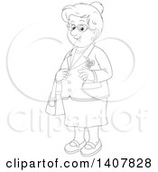 Clipart Of A Cartoon Black And White Lineart Happy Senior Woman Royalty Free Vector Illustration