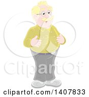 Clipart Of A Cartoon Balding Blond White Man Smiling Royalty Free Vector Illustration by Alex Bannykh