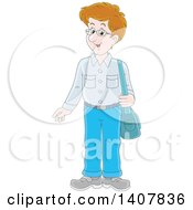 Clipart Of A Cartoon Caucasian Man Standing With A Shoulder Bag Royalty Free Vector Illustration