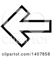 Clipart Of A Black And White Left Directional Arrow Design Element Royalty Free Vector Illustration