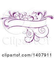 Purple Swirl Plant And Butterfly Label Frame Design Element