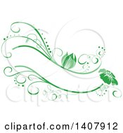 Clipart Of A Green Swirl Plant Label Frame Design Element Royalty Free Vector Illustration