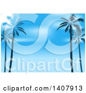 Clipart Of A Background Of Silhouetted Palm Trees And Blue Sky Royalty Free Vector Illustration by dero