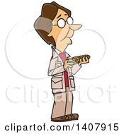 Clipart Of A Cartoon Woman Barbara McClintock Holding Corn Royalty Free Vector Illustration