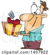 Clipart Of A Cartoon White Man Holding Out A Gift For His Dad Royalty Free Vector Illustration by toonaday