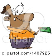 Clipart Of A Cartoon Black Man Crying And Parting With His Last Dollar Bills Royalty Free Vector Illustration by Ron Leishman