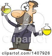 Cartoon White Man Louis Pasteur Conducting A Chemistry Experiment