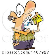 Clipart Of A Cartoon White Man Chugging Down Multi Vitamins Royalty Free Vector Illustration