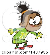 Clipart Of A Cartoon African Girl Soccer Goal Keeper Royalty Free Vector Illustration by toonaday