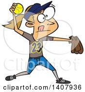 Poster, Art Print Of Cartoon Caucasian Girl Throwing A Softball
