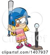 Poster, Art Print Of Cartoon Little Caucasian Girl Playing T Ball