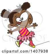 Cartoon African Girl Walking A Circus Tight Rope