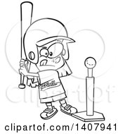 Poster, Art Print Of Cartoon Black And White Lineart Little Girl Playing T Ball