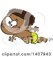 Clipart Of A Cartoon Black Boy Running On A Beach Royalty Free Vector Illustration by Ron Leishman