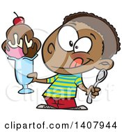 Clipart Of A Cartoon Black Boy Holding A Big Ice Cream Sundae Royalty Free Vector Illustration