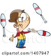 Cartoon White Male Circus Performer Juggling
