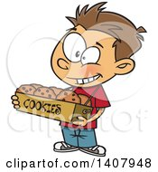 Clipart Of A Cartoon Caucasian Boy Selling Cookies Royalty Free Vector Illustration