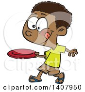Clipart Of A Cartoon African Boy Throwing A Frisbee Royalty Free Vector Illustration by toonaday