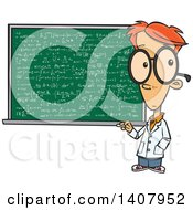 Clipart Of A Cartoon Red Haired Caucasian Genius Boy By A Chalkboard Royalty Free Vector Illustration by toonaday