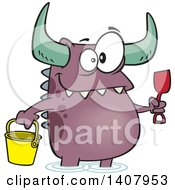 Cartoon Happy Monster With A Bucket And Shovel Wading On A Beach