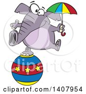 Cartoon Circus Elephant Holding An Umbrella And Balancing On A Ball