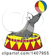 Cartoon Circus Seal Balancing A Ball On His Nose