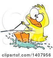 Clipart Of A Cartoon Duck Water Skiing Royalty Free Vector Illustration by toonaday