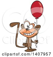 Clipart Of A Cartoon Happy Birthday Monkey Holding A Party Balloon Royalty Free Vector Illustration