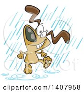 Clipart Of A Cartoon Happy Dog Dancing In The Rain Royalty Free Vector Illustration by toonaday