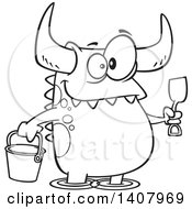 Cartoon Black And White Lineart Happy Monster With A Bucket And Shovel Wading On A Beach