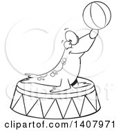 Cartoon Black And White Lineart Circus Seal Balancing A Ball On His Nose