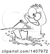 Clipart Of A Cartoon Black And White Lineart Duck Water Skiing Royalty Free Vector Illustration by toonaday