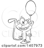 Clipart Of A Cartoon Black And White Lineart Happy Birthday Monkey Holding A Party Balloon Royalty Free Vector Illustration by toonaday