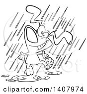Clipart Of A Cartoon Black And White Lineart Happy Dog Dancing In The Rain Royalty Free Vector Illustration