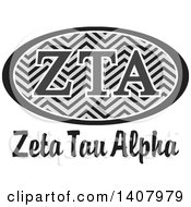 Poster, Art Print Of Grayscale College Zeta Tau Alpha Sorority Organization Design