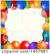 Clipart Of A Background Of 3d Colorful Party Balloons Over Tan Royalty Free Vector Illustration