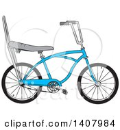 Clipart Of A Cartoon Blue Stingray Bicycle Royalty Free Vector Illustration