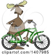 Clipart Of A Cartoon Moose Pushing A Green Bicycle Royalty Free Vector Illustration