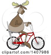 Clipart Of A Cartoon Moose Riding A Red Stingray Bicycle Royalty Free Vector Illustration by djart