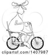 Clipart Of A Cartoon Black And White Lineart Moose Riding A Stingray Bicycle Royalty Free Vector Illustration