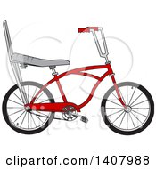 Clipart Of A Cartoon Red Stingray Bicycle Royalty Free Vector Illustration