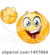 Clipart Of A Yellow Smiley Face Emoji Emoticon Cheering Power To The People Royalty Free Vector Illustration