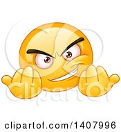 Clipart Of A Yellow Smiley Face Emoji Emoticon Gesturing Wanna Fight Royalty Free Vector Illustration