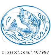 Clipart Of A Retro Sketched Striped Bass Rockfish Jumping In A Blue And White Oval Royalty Free Vector Illustration