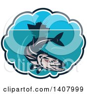 Clipart Of A Retro Cobia Fish Swimming Below A Silhouetted Fishing Boat In A Bubble Frame Royalty Free Vector Illustration by patrimonio