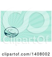 Clipart Of A Retro Fly Fisherman Reeling In A Trout Or Salmon Fish From A Boat And Turquoise Rays Background Or Business Card Design Royalty Free Illustration