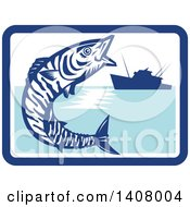 Clipart Of A Retro Wahoo Scombrid Fish Jumping Near A Silhouetted Fishing Boat In A Blue And White Rectangle Royalty Free Vector Illustration